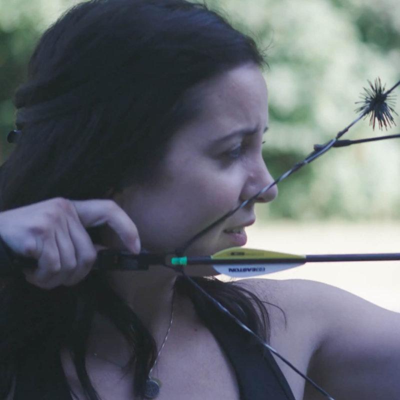 Philomena Ferree with bow